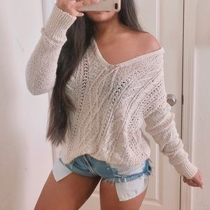 Adorable cream hooded knit sweater